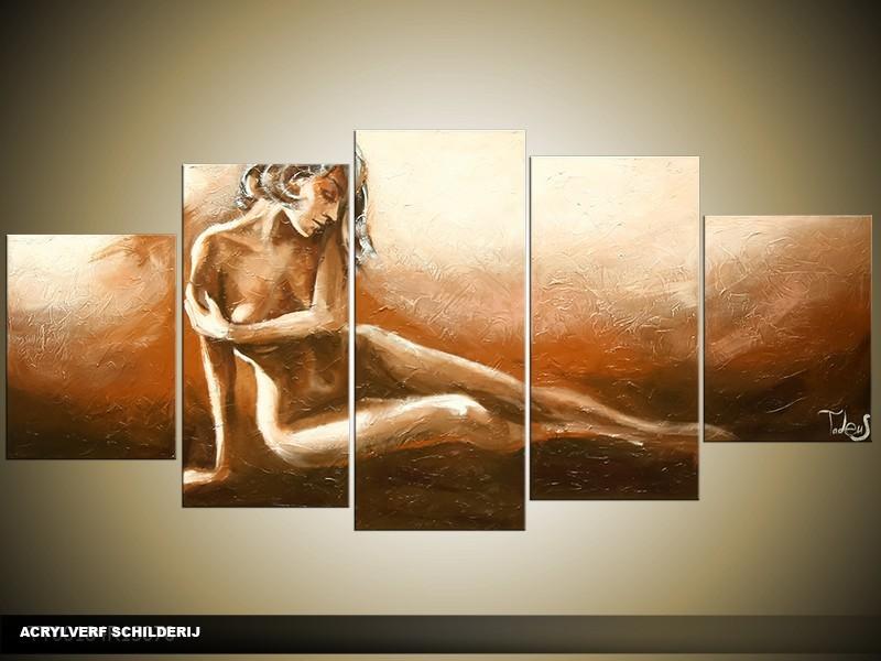 Acryl Schilderij Kunst, Sexy | Bruin, Groen | 150x70cm 5Luik Handgeschilderd