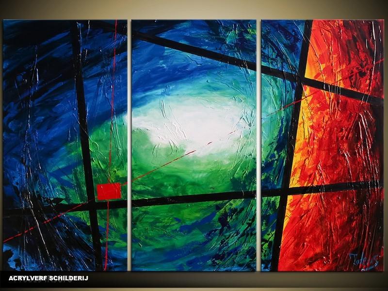 Acryl Schilderij Modern | Blauw, Groen, Rood | 120x80cm 3Luik Handgeschilderd