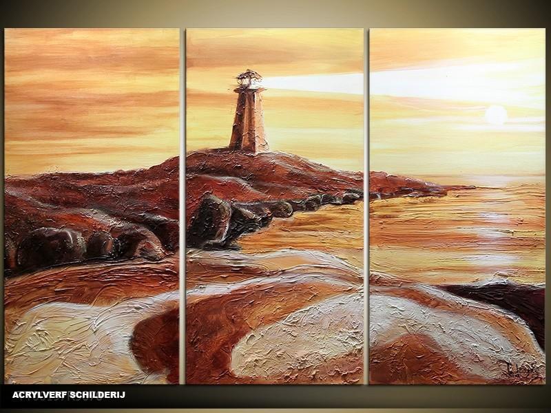 Acryl Schilderij Natuur | Bruin, Crème | 120x80cm 3Luik Handgeschilderd