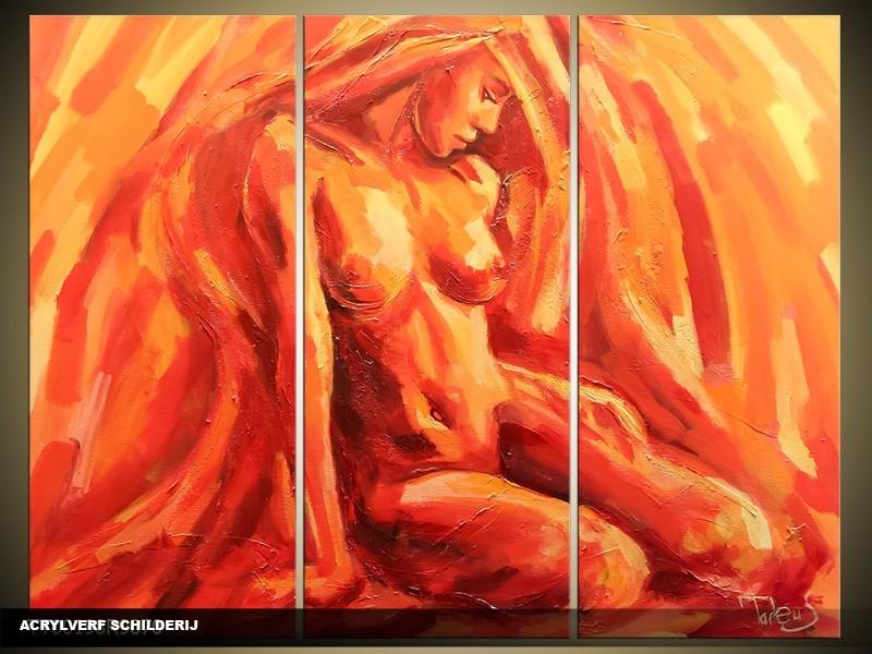 Acryl Schilderij Kunst, Sexy | Oranje, Rood, Geel | 120x80cm 3Luik Handgeschilderd