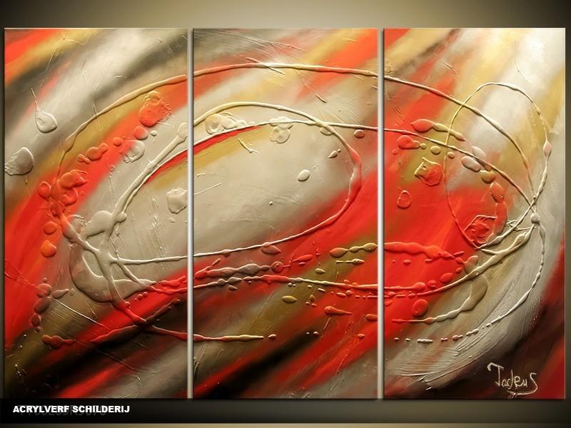 Acryl Schilderij Modern | Grijs, Rood | 120x80cm 3Luik Handgeschilderd