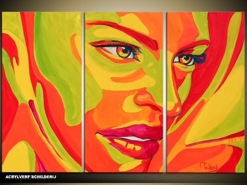 Acryl Schilderij Vrouw | Groen, Oranje | 120x80cm 3Luik Handgeschilderd