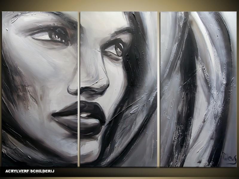 Acryl Schilderij Vrouw | Grijs, Zwart | 120x80cm 3Luik Handgeschilderd