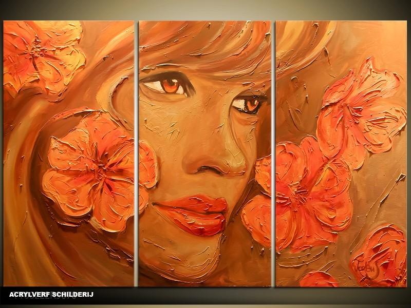 Acryl Schilderij Vrouw | Oranje, Bruin | 120x80cm 3Luik Handgeschilderd