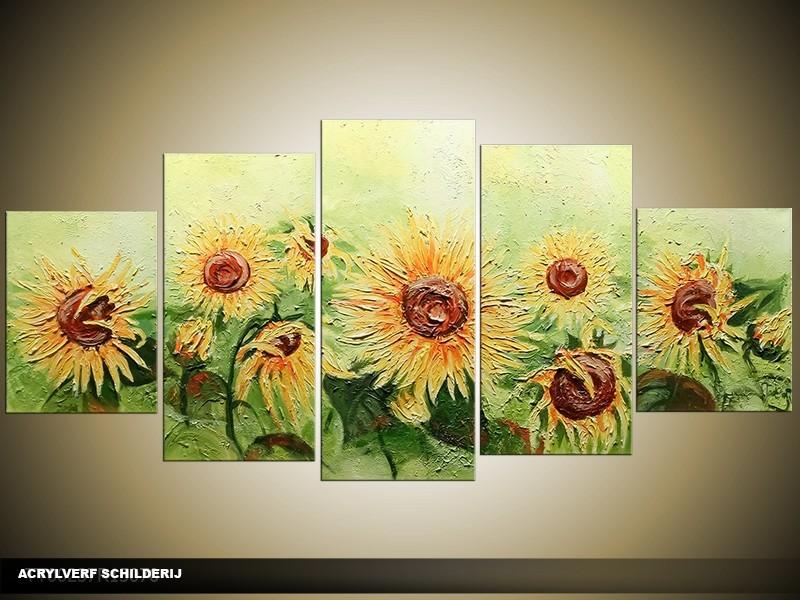 Acryl Schilderij Zonnebloem | Groen, Geel | 150x70cm 5Luik Handgeschilderd