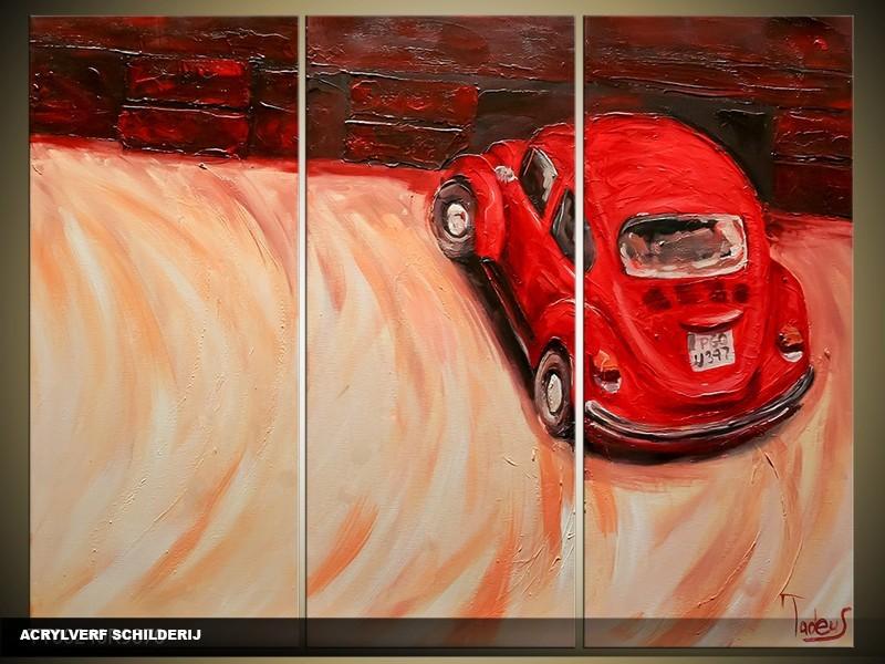 Acryl Schilderij Auto | Rood, Crème | 120x80cm 3Luik Handgeschilderd
