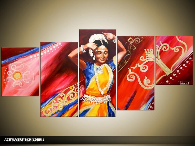 Acryl Schilderij Dansen | Rood, Geel | 150x70cm 5Luik Handgeschilderd