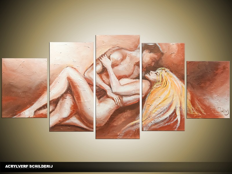 Acryl Schilderij Kunst, Sexy | Bruin, Crème | 150x70cm 5Luik Handgeschilderd