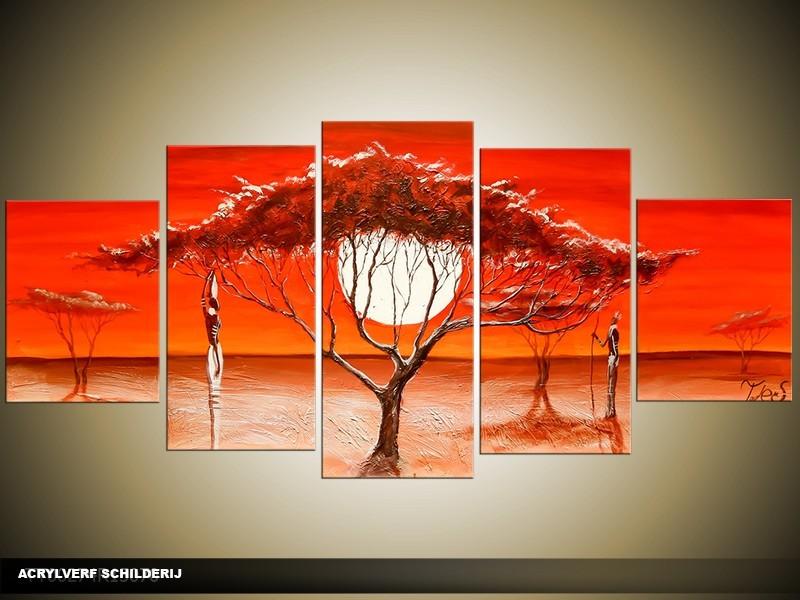 Acryl Schilderij Natuur | Rood | 150x70cm 5Luik Handgeschilderd