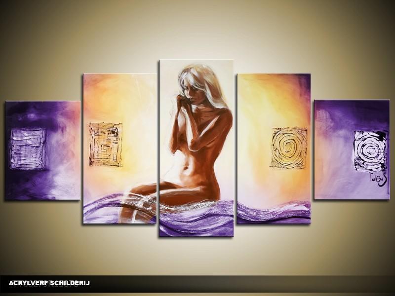Acryl Schilderij Natuur | Paars, Crème | 150x70cm 5Luik Handgeschilderd