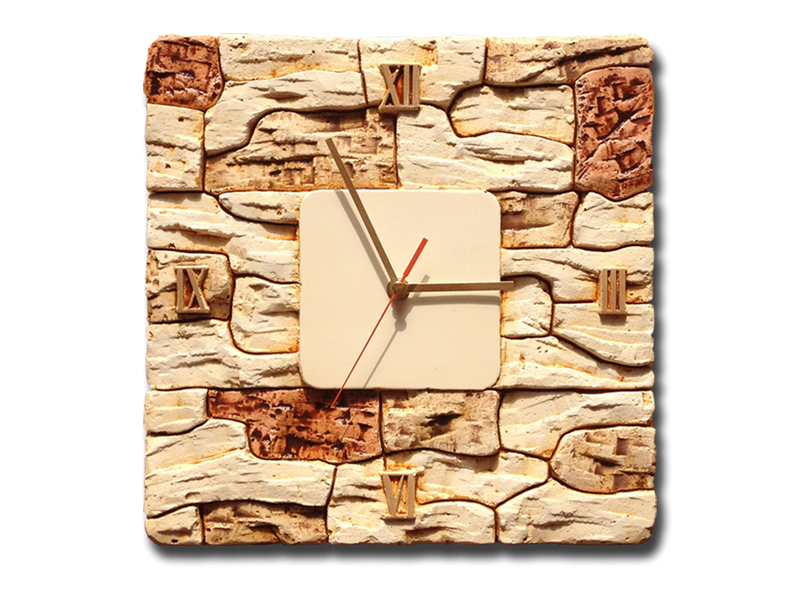 Wandklok gips reliëf | decoratieve steen motief | 30x30cm.