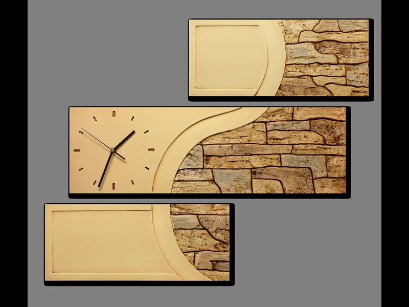 Wandklok gips reliëf | decoratieve steen motief | C | 70x53x3,5cm.