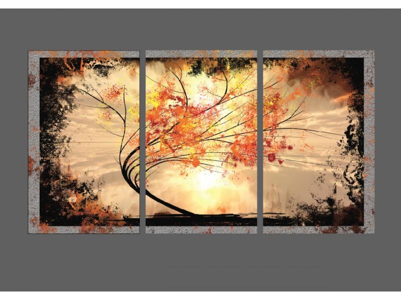 Glas schilderij Bomen | Oranje, Grijs, Zwart | 155x86cm 3Luik