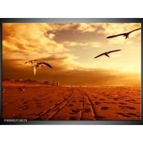 Foto canvas schilderij Vogels | Goud, Geel, Oranje