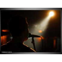 Foto canvas schilderij Muziek | Zwart, Oranje, Wit