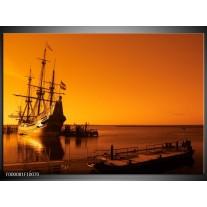 Foto canvas schilderij Boot   Oranje, Bruin, Zwart
