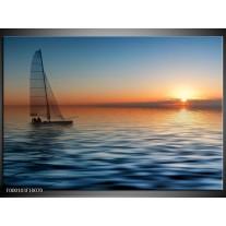 Foto canvas schilderij Zonsondergang | Blauw, Geel, Oranje