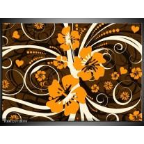 Foto canvas schilderij Abstract | Oranje, Bruin, Wit