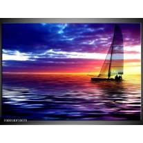 Foto canvas schilderij Boot   Paars, Geel, Wit