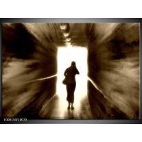 Foto canvas schilderij Tunnel | Wit, Bruin, Grijs