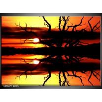 Foto canvas schilderij Zonsondergang   Oranje, Zwart, Geel