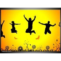 Foto canvas schilderij Dansen | Geel, Zwart, Oranje