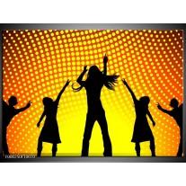 Foto canvas schilderij Dansen   Zwart, Geel, Oranje