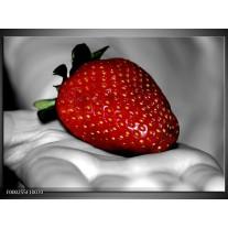 Foto canvas schilderij aardbei | Rood, Grijs, Groen