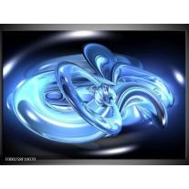 Foto canvas schilderij Abstract   Blauw, Wit, Zwart
