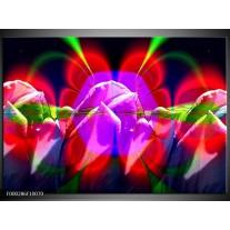 Foto canvas schilderij Bloemen | Rood, Paars, Groen