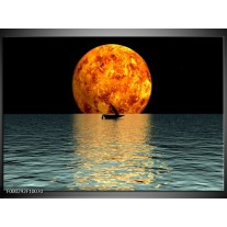 Foto canvas schilderij Maan | Oranje, Blauw, Zwart
