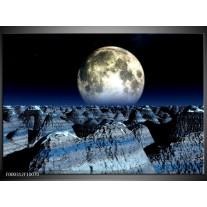 Foto canvas schilderij Maan | Blauw, Grijs, Wit