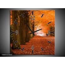 Wandklok op Canvas Herfst | Kleur: Oranje, Bruin, Groen | F000015C