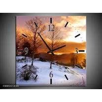 Wandklok op Canvas Winter | Kleur: Wit, Bruin, Oranje | F000031C