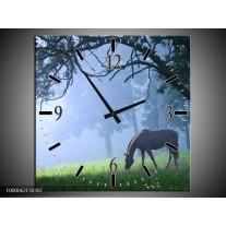 Wandklok op Canvas Paard   Kleur: Grijs, Groen, Zwart   F000062C