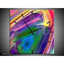 Wandklok op Canvas Kleurrijk   Kleur: Groen, Paars, Geel   F000070C