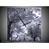 Wandklok op Canvas Bomen | Kleur: Wit, Zwart, Grijs | F000074C