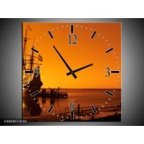 Wandklok op Canvas Boot   Kleur: Oranje, Bruin, Zwart   F000081C