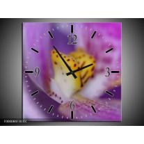 Wandklok op Canvas Bloemen   Kleur: Paars, Geel, Wit   F000084C