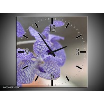 Wandklok op Canvas Orchidee | Kleur: Blauw, Wit, Grijs | F000086C