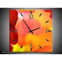Wandklok op Canvas Blaadjes | Kleur: Rood, Geel, Oranje | F000110C
