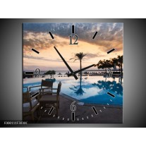 Wandklok op Canvas Zwembad | Kleur: Blauw, Grijs, Wit | F000111C
