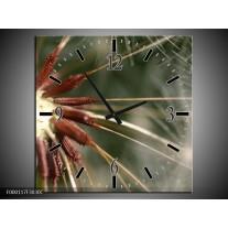 Wandklok op Canvas Natuur | Kleur: Bruin, Wit, Groen | F000117C