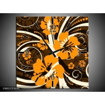 Wandklok op Canvas Abstract | Kleur: Oranje, Bruin, Wit | F000127C
