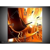 Wandklok op Canvas Abstract | Kleur: Wit, Bruin, Oranje | F000136C