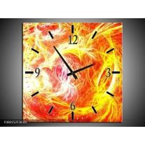 Wandklok op Canvas Vuur | Kleur: Geel, Oranje, Rood | F000152C