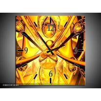 Wandklok op Canvas Abstract | Kleur: Geel, Goud, Bruin | F000159C