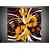 Wandklok op Canvas Abstract | Kleur: Wit, Oranje, Bruin | F000161C