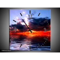 Wandklok op Canvas Zee | Kleur: Rood, Geel, Blauw | F000162C