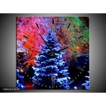 Wandklok op Canvas Kerstboom | Kleur: Blauw, Groen, Rood | F000165C